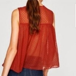 ZARA TRF Embroidered Dotted Mesh Blouse